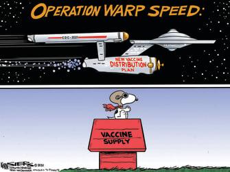 Editorial Cartoon U.S. COVID vaccine warp speed snoopy