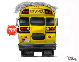 Editorial Cartoon U.S. No School coronavirus bus stop