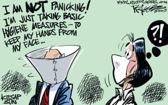 Editorial Cartoon U.S. panic basic hygiene coronavirus pandemic