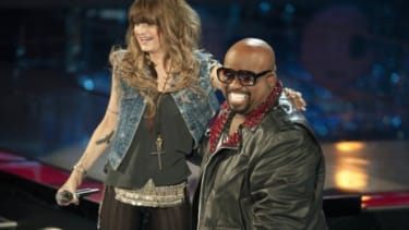 """""""The Voice"""" judge Cee Lo Green nabs singer Juliet Simms for his team after her blind audition on the second season premiere of the NBC singing competition."""