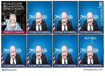 Editorial Cartoon U.S. USPS delays DeJoy
