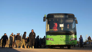 Rebels arrive in Idlib province from Aleppo