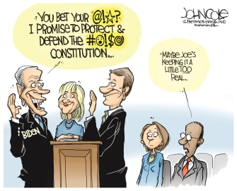 Political Cartoon U.S. Biden Constitution swear profanity