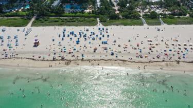 Beachgoers in Miami.