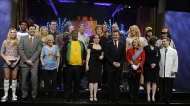 """The cast of """"30 Rock,"""" peppered with A-list stars including Amy Poehler, Paul McCartney, and Jon Hamm, after one of Thursday's live broadcasts."""