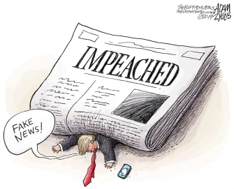 Political Cartoon U.S. Trump Crushed Under Impeachment News