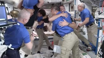 Astronauts arrive International Space Station.