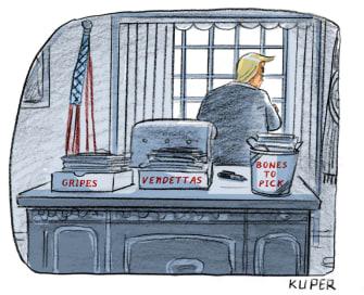 Political Cartoon U.S. Trump oval office in box