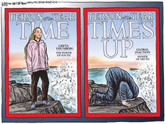 Political Cartoon U.S. Trump Greta Thunberg Versus Person of the Year