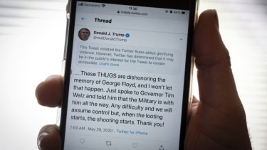 The twitter page of US President Donald Trump's is displayed on a mobile phone in Vaasa, Finland, on May 29, 2020