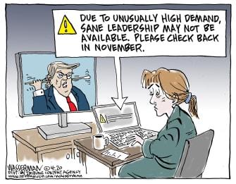 Political Cartoon U.S. stimulus check delayed worried Americans Trump leadership