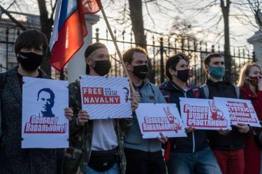 Supporters of Alexei Navalny.