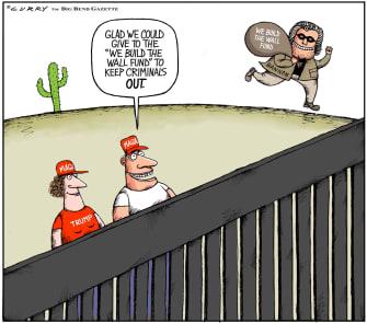 Political Cartoon U.S. Bannon Trump MAGA wall