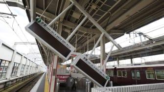 Damage at a rail station north of Osaka.