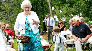 Grandmother, 94, serves as flower girl in granddaughter's wedding