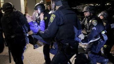 UC Berkeley police remove protester from alt-right protest