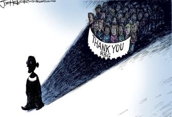 Political Cartoon U.S. Ruth Bader Ginsburg RIP
