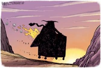 Political Cartoon U.S. Trump gone