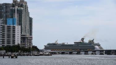 A cruise ship sails by Miami Beach.
