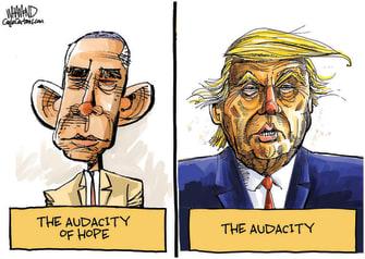 Political Cartoon U.S. Trump Obama audacity of hope