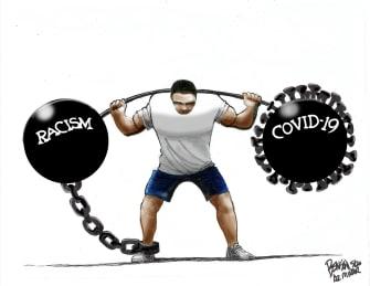 Editorial Cartoon U.S. racism coronavirus covid weight
