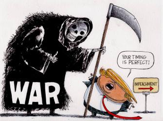 Political Cartoon U.S. Trump War Impeachment Distraction Iran