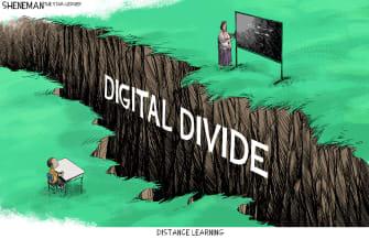 Editorial Cartoon U.S. distance learning coronavirus divide