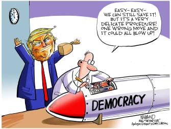 Political Cartoon U.S. Trump Democracy Under Pressure