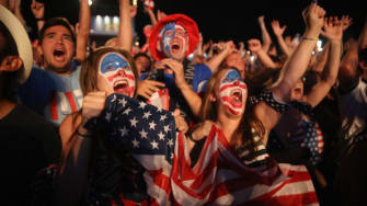 American soccer fans cheer on Team U.S.A during the World Cup in Rio de Janeiro.
