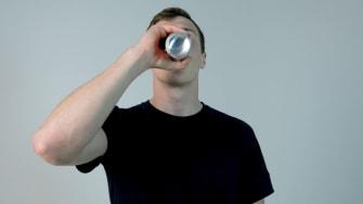 A teen drinking.