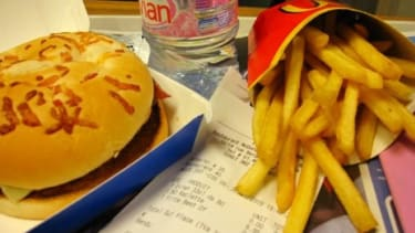 A McDonalds meal in Paris: Not even the famously svelte French are impervious to the fattening effects of fast food.