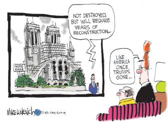 Political Cartoon U.S. Notre Dame Cathedral Trump MAGA 2020 election