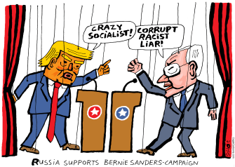 Political Cartoon U.S. Russian puppets Sanders Trump 2020 election