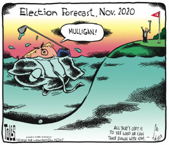 Political Cartoon U.S. Trump 2020 polls mulligan