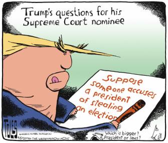 Political Cartoon U.S. Trump SCOTUS 2020 election