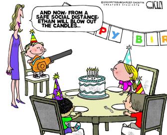 Editorial Cartoon U.S. social distancing birthday