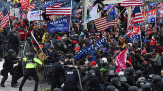 A pro-Trump mob clashes with police at the Capitol on Jan. 6.