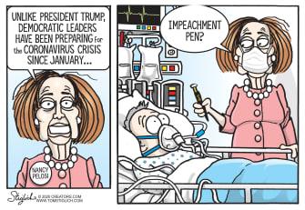 Political Cartoon U.S. Pelosi democrats coronavirus planning impeach Trump