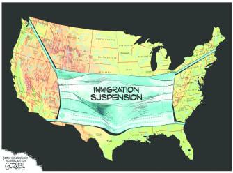 Editorial Cartoon U.S. Trump coronavirus immigration suspension