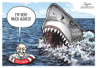 Political Cartoon U.S. Biden wins South Carolina Super Tuesday survivor