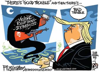 Political Cartoon U.S. Trump bad trouble protest shootings