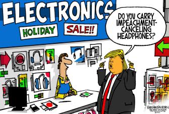 Political Cartoon U.S. Electronic Holiday Sale Trump Impeachment Noise Cancelling Headphones