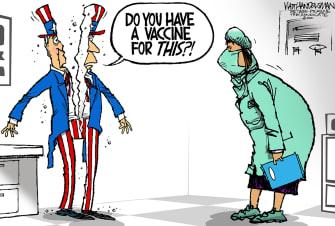 Political Cartoon U.S. Trump capitol riots division vaccine