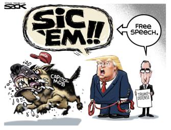 Political Cartoon U.S. trump impeachment defense