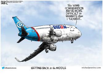 Political Cartoon U.S. Biden 2020 left wing