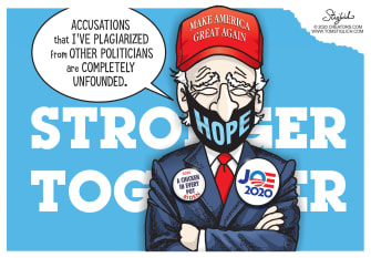 Political Cartoon U.S. Biden plagiarism