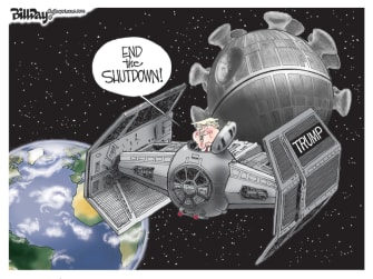 Political Cartoon U.S. Trump Death Star coronavirus reopening