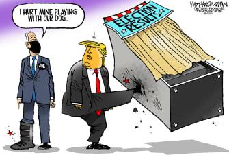 Political Cartoon U.S. Trump Biden election results foot