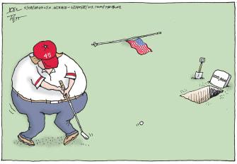 Political Cartoon U.S. Trump golfing coronavirus deaths