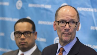 Newly elected Democratic National Committee Chairman Tom Perez, right, and Rep. Keith Ellison, who was named deputy chairman